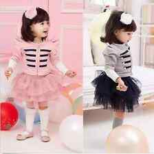1-5Y Toddler Kids Girls Outfits Long Sleeve Stripes Cotton Coat + Tutu Skirt Set