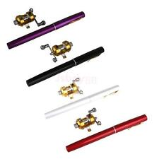 Mixed Color Pocket Portable Aluminum Alloy Telescopic Pen Fishing Rod Pole Reel
