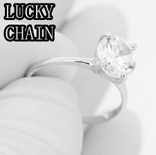 WOMEN`S 925 STERLING SILVER LAB DIAMOND ENGAGEMENT RING 5g R461