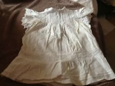 Victorian/Edwardian?Fine Cotton Dress With Cap Sleeves Deep Embroidery