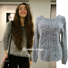 kn74 Celebrity Fashion Trendy Scoop Neck Fuzzy Knitted Grey Mohair Sweater