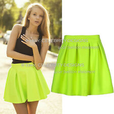 sk85 Celebrity Style Neon Coloured High Waisted Pleated Flared Skater Skirt