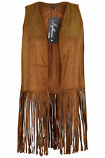 New Ladies Womens Tan Suede Tassels Fringed   Sleeveless Waistcoat Gilet Jacke