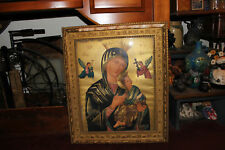 Antique Religious Virgin Mother Mary Madonna Print-Gilded Wood Frame-Christian