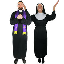 COUPLES PRIEST NUN COSTUME RELIGIOUS CLERGY NOVELTY FANCY DRESS LADIES MENS