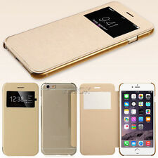 Gold Leather Flip View Window Case Cover for Apple iPhone & Samsung Galaxy & HTC