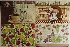 KITCHEN FOOD DRINK THEME VINYL PLACEMATS SELECT: Chef Coffee Fruit Wine-Wicker