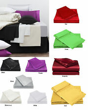 300TC Luxury Satin Silk Soft Fitted Sheet Set - Single Double Queen King  5 Clrs