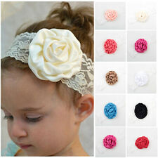 2Pcs Kid Baby Girl Lace Rose Flower Headband Hair Band Headwear Accessories