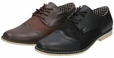 Mens Brown Black Faux Leather Suede Lace Up Formal Casual Dress Wedding Shoes