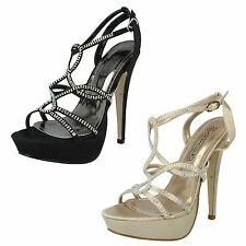 "Ladies Spot On Diamante Strappy Platform Sandals with 5.75"" Heel Style F10171"