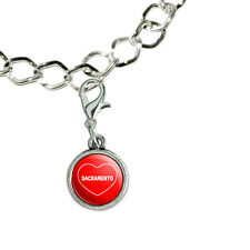 Silver Plated Bracelet with Antiqued Charm I Love Heart Places S