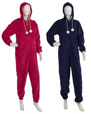 Ladies Soft Coral Fleece Plain Hooded Onesie All In One Piece Womens PJs Pockets