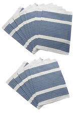 Cotton Two Tone Striped Kitchen Tea Towels Pack of Blue & White Catering Cloths