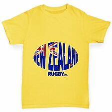 Twisted Envy Boy's New Zealand Rugby Ball Flag Organic Cotton T-Shirt