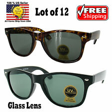 WHOLESALE LOT OF 12 BLACK 80s RETRO WAYFARER DARK GLASS LENS SUNGLASSES SHADES