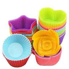 10 Pcs Food -graded Silicone Muffin Cup Cake Baking Mold Pastry Jelly Soap Mold