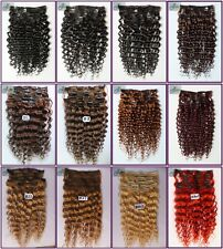 120g 7pcs Brazil Deep/Curly Wavy Real Human Hair Extensions Clip In,Full Head US