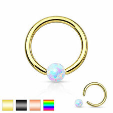 Synthetic Opal Stone IP 316L Surgical Steel Captive Bead Ring