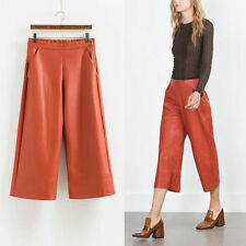 Fashion Faux Leather High Waist Wide Leg Pants Casual Capris Cropped Trousers