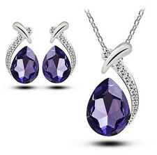 Women Chic Crystal Pendant Silver Plated Chain Necklace Stud Earring Jewelry Set
