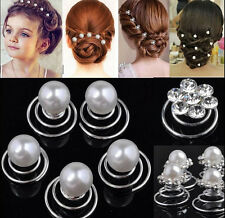 12 Silver plated Wedding Diamante Crystal Hair Twists Swirls Pins Spirals Pearl