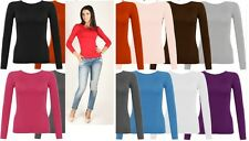 New Womens Long Sleeve Stretch Plain Round Scoop Neck T Shirt Top Sizes 6-26 *RN