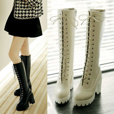 Hot Womens Knee High Booties Block Chunky Lace Up Ladies Pu Leather Boots Size S