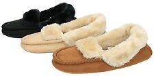 Ladies Black Beige Brown Faux Suede Fur Lined Moccasin Cosy Warm Slippers