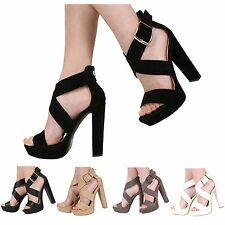 NEW WOMENS LADIES PEEP TOE PLATFORM HIGH HEEL STRAPPY SANDAL SHOES SIZE 3-8