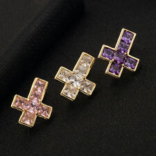 Cross Rhinestone Crystal Barbells Navel Belly Bar Button Ring Body Piercing