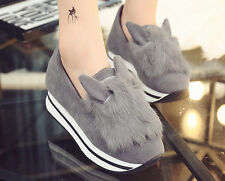 Stylish Womens Creeper Fur Trim Faux Suede Cute Hidden Heel Leisure Shoes Size S