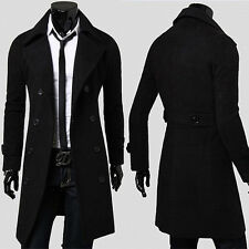 Warm Winter Mens Trench Coat Long Jacket Double Breasted Peacoat Overcoat Tops
