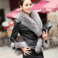 Womens Warm Faux Leather Overcoat Slim Fit Jacket Coat Fox Fur Collar Outerwear