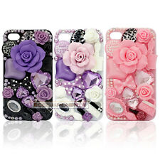 3D Rose Crystal Bling Diamond Handmade Case Cover For Samsung Galaxy iphone