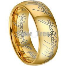 8mm Gold The lord of Tungsten Carbide Ring Mens Jewelry Wedding Band All Size