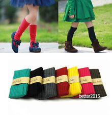 New Kids Children Leg Warmers Boot Solid Socks Tights Baby Girl Knit Cotton 3-9Y