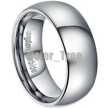 Mens Tungsten Carbide 8mm Comfort Fit Dome Rings Wedding Band