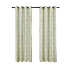 Ivory Embroidered Lined Grommet Window Curtain Panels Olivia Pair