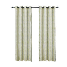 Set of Two Olivia Lined Grommet Ivory Embroidered Window Curtain Panels