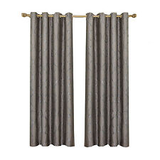 Laguna Taupe 100% Polyester 2PC Jacquard Grommet Window Curtain Panels
