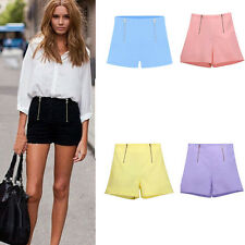 Women Summer Style Hot Pants Casual Short Pants High Waist Zipper Shorts US 4-16