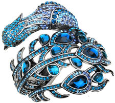 Peacock bangle bracelet fashion jewelry gifts for women her mom 2 silver tone