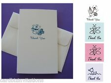 Baby Thank You Cards and Envelopes  (10) PINK or BLUE  Bee, Duck or Bottles New