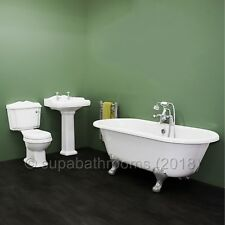 Traditional Victorian Roll Top Freestanding Bath Toilet WC Basin Pedestal Suite
