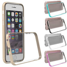 Hybrid Metal Bumper Frame Case Clear TPU Hard Back Cover for iPhone 6S/6 Plus