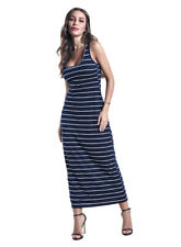 dp231 Celebrity Fashion Sleeveless Striped Racer Back Cotton T-shirt Maxi Dress