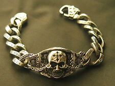 Trendy Stainless Steel Bracelet bracelet Totenkopf Scull with Lily Fb. Silver
