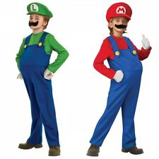 Mario & Luigi Costumes Kids Super Mario Bros Brothers Halloween Fancy Dress
