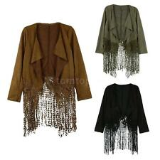 Women's Faux Suede Lace Tassel Fringe Casual Crop Jackets Coats Outwear S M AN69